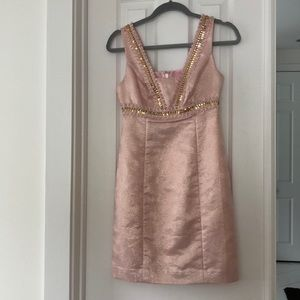 LILLY PULITZER PALE PINK DRESS GOLD EMBELLISHMENT